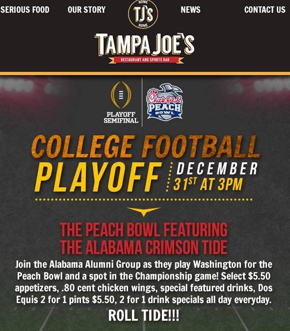 Alabama vs. Washington – College Football Playoff – December 31, 2016 at 3:00PM